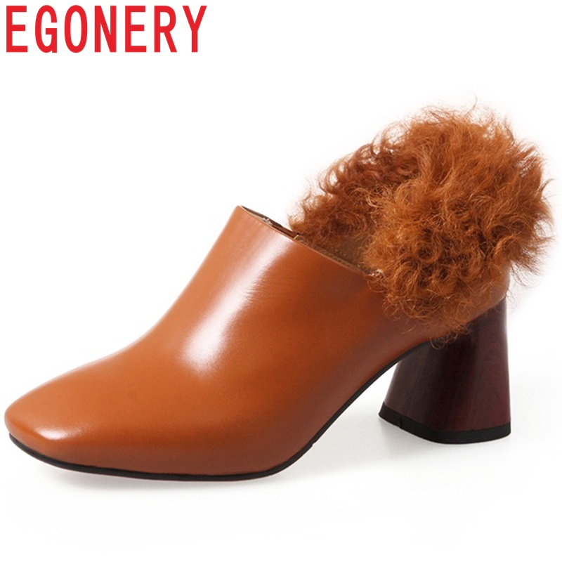 EGONERY ankle boots genuine leather square toe slip-on high square heel winter outside fashion fur decoration warm shoes women zvq 2018 winter hot sale new fashion square toe zipper high square heel genuine leather women ankle boots outside warm shoes