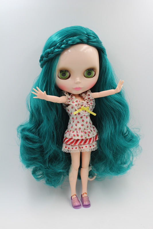 Free Shipping BJD joint RBL-204J DIY Nude Blyth doll birthday gift for girl 4 colour big eyes dolls with beautiful Hair cute toy