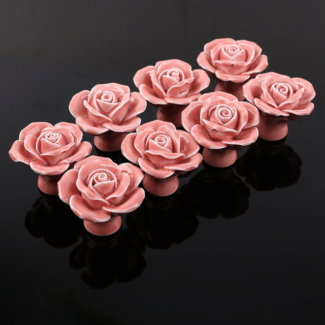 8PCS Pink Ceramic Vintage Floral Rose Door Knobs Handle Handmade ...