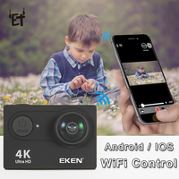 ET H9 4K Wifi Camera for Sports Remote Control   Camcorder   HD 170 Degree Wide Angle Camera Waterproof Action DVR Cam 2.0' Screen