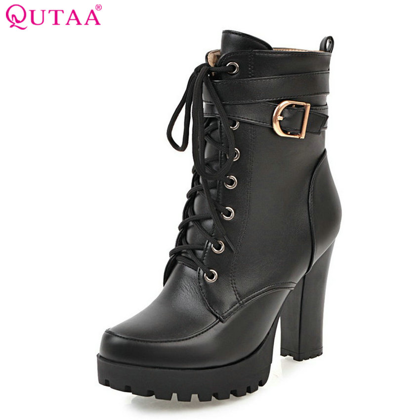 QUTAA 2018 Women Fashion Boots Lace Up Square High Heel Round Toe Pu Leather High Quality Women Ankle Boots Size 34-43 qutaa 2018 high quality pu leather women ankle boots fashion square high heel zipper round toe all match women boots size 34 43
