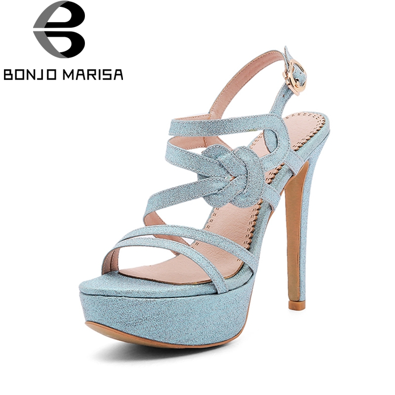 BONJOMARISA 2018 Brand Shoes Woman Blue Pink Women Shoes Thin High Heels Platform Party Woman Footwear Wedding Sandals Shoes brand new qitong pu 13cm woman thin ultra heels platform lady sandals nightclub t walk woman shoes high heeled sexy party shoes