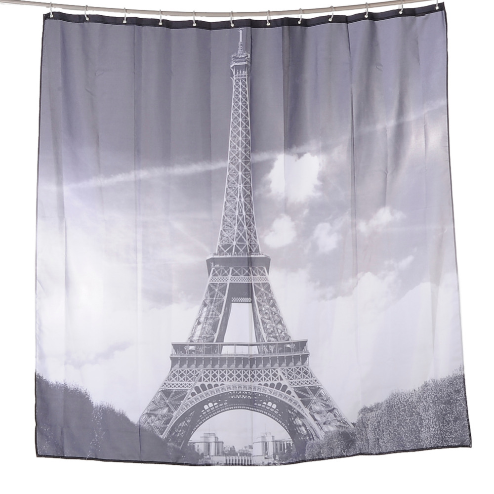 Fabric paris shower curtain - Paris Shower Curtains Bathroom Mildewproof Polyester Tower Curtains Waterproof Fabric With Hooks Home Decoration Drop Shipping