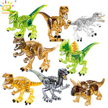 8pcs Crystal Dinosaur World T-Rex Figures Building Blocks Compatible Legoingly Jurassic Park Brick Educational Toys for children(China)