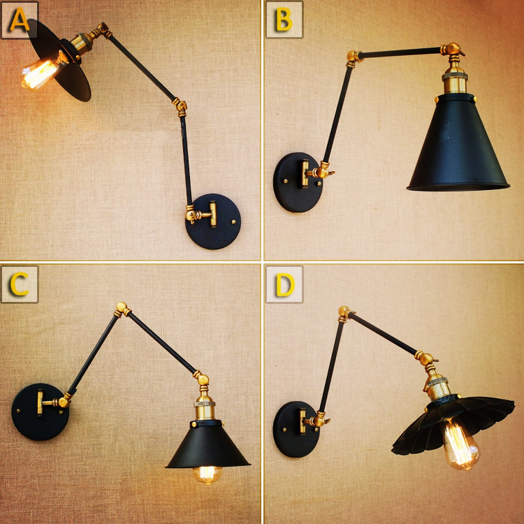 adjustable swing arm wall wall lamp vintage lampe dinning room edison retro retro. Black Bedroom Furniture Sets. Home Design Ideas