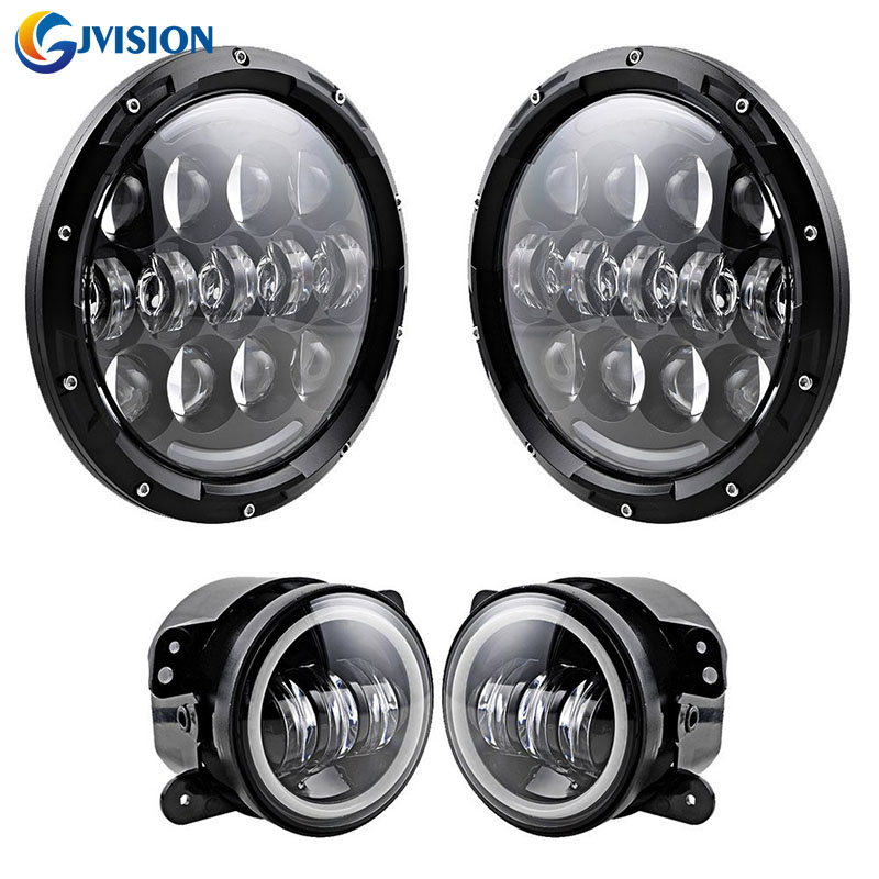 Pair 105W Headlamp 7'' inch motorcycle led headlight H4 H13 DRL and 4INCH Halo Ring Angel eyes front fog light for Jeep Wrangler