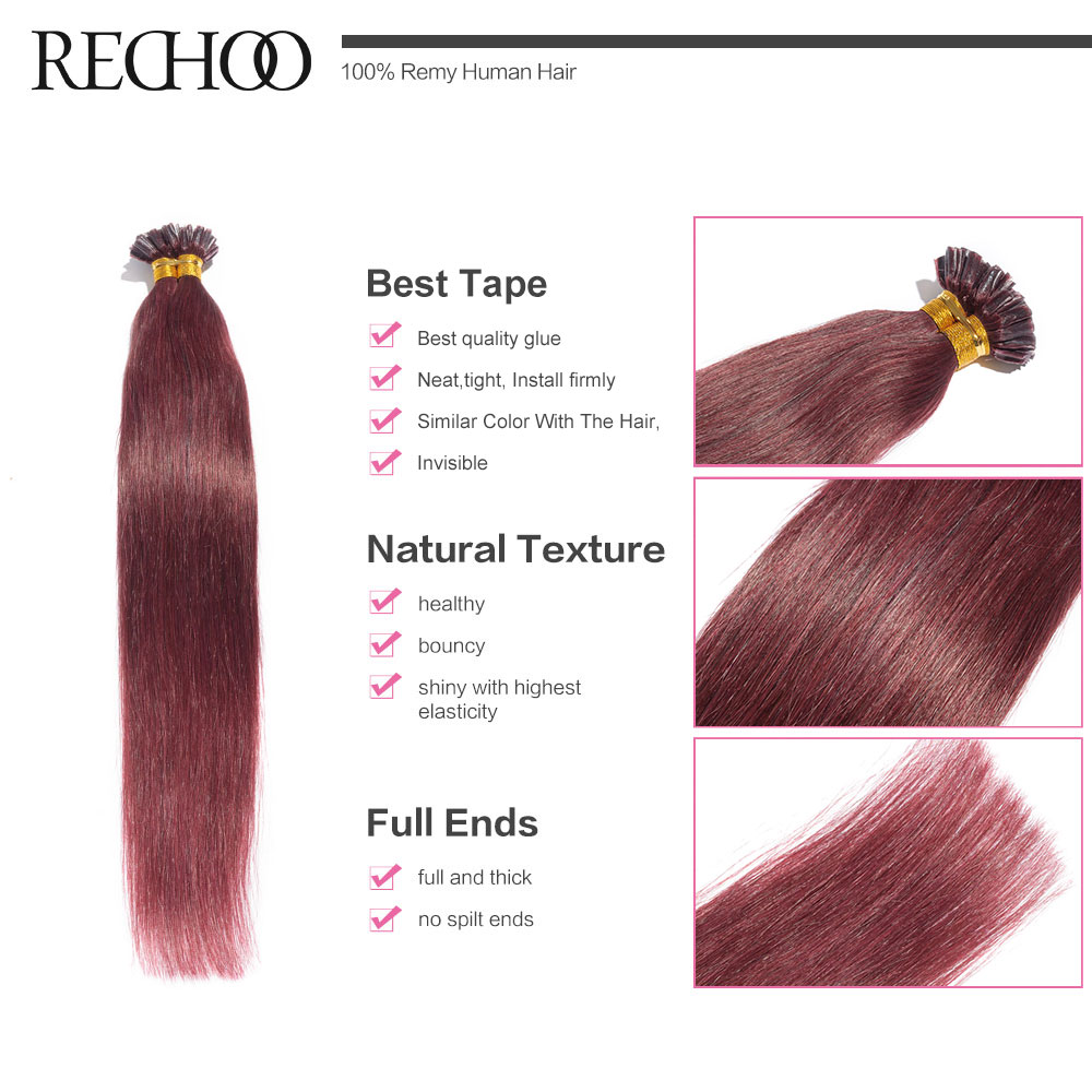 Aliexpress Rechoo 18 24 Non Remy Nail U Tip Pre Bonded Keratin Glue Human Hair Extensions 100 Strands Straight Fusion From