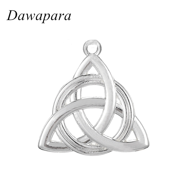Dawapara Hollow Irish Knot Pendant Charms Good Luck Symbol Silver