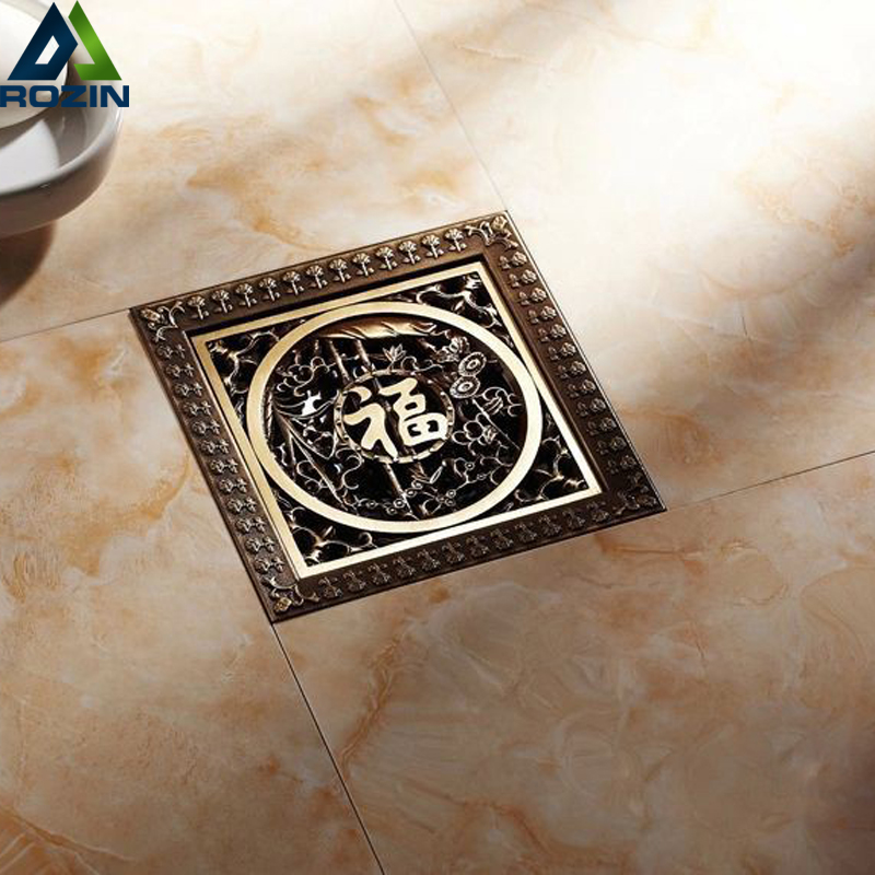 Free Shipping Antique Brass 12CM Decorative Floor Waste Drainer Square Flower Carved Shower Drain Waste Grate Cover oil rubbed bronze square floor drain cover bathroom 4 inch waste drainer free shipping