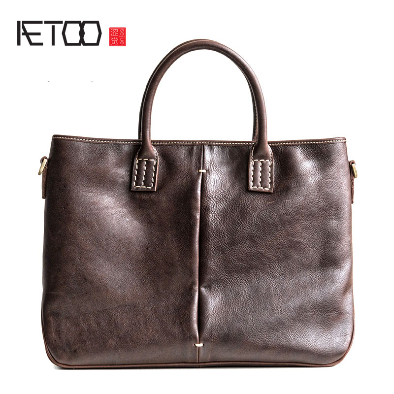 AETOO First layer of leather handbag men business casual briefcase retro leather shoulder Messenger bag leather handbag shoulder bag casual first layer of leather men s oil wax messenger bag korean man bag tide
