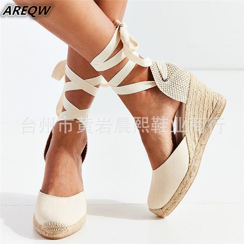 Sandals Comfortable Slippers Pumps Espadrille Ankle-Strap Casual Shoes Canvas Hemp Womens