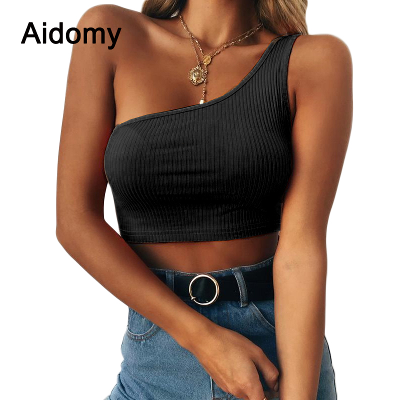 One Shoulder Women Tank Tops Summer Sleeveless Strap Crop Tops Women Fitness Workout Short Tee Streetwear Backless Camis