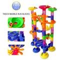 Frete grátis 105 pcs diy construção de mármore corrida corrida bolas labirinto pista de plástico casa building blocks brinquedos para o natal no caixa