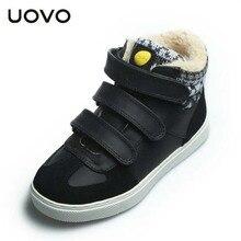 UOVO брендовые ботинки детские модные ботинки для мальчиков и девочек зимние плюшевые сапоги качество студентов хлопок кроссовки для больших детей спортивная обувь