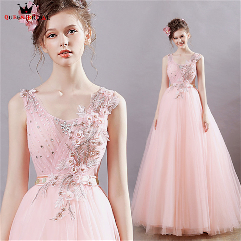 A-line Tulle Appliques Pearls Beaded Long Pink Elegant Evening ...