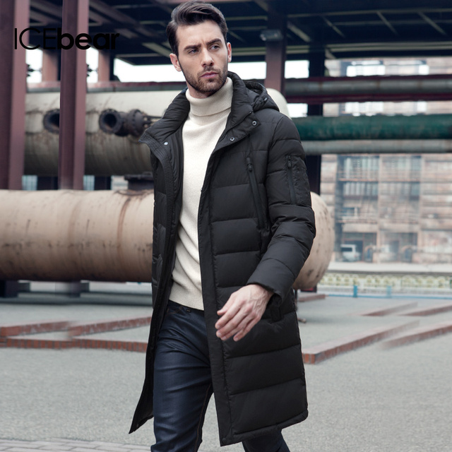 ICEbear 2019 New Clothing Jackets Business Long Thick Winter Coat Men Solid Parka Fashion Overcoat Outerwear 16M298D 1