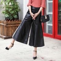 High Waist Womens Wide Leg Pants Loose Streetwear Ankle Length Pants Female 2018 New Big Size M 3XL Black Genuine Leather Zipper