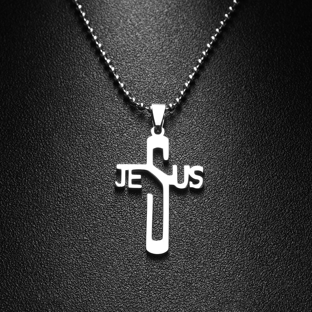 1Pc Newest JESUS CROSS Fashion Pendant Necklace Jewelry Stainless Steel Chain Christian Symbol Nice Gift High Quality