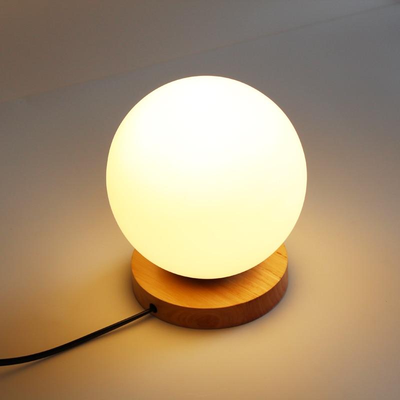 Us 37 42 25 Off Modern Table Lamps Glass Globe Table Light Bedroom Wood Base Desk Lamps Study Light Fixtures Luminaires Abajur Night Lighting In Led