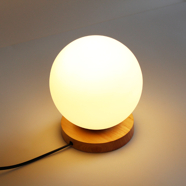 Modern Table Lamps Glass Globe Table Light Bedroom Wood Base Desk Lamps  Study Light Fixtures Luminaires