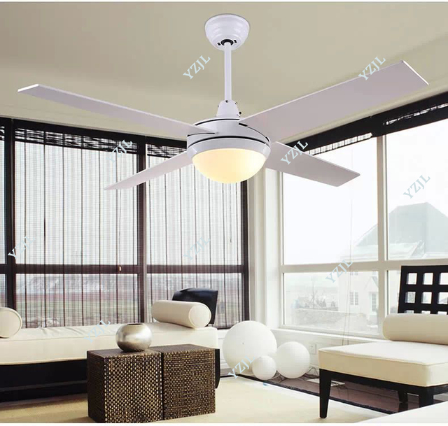 Chandelier fan light 48inch modern minimalist fashion LED leaves of white dining room living room ceiling chandelier fan lights