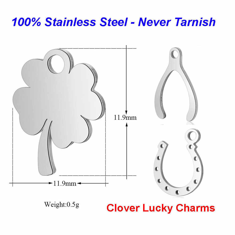 10pcs/lot 100% Stainless Steel Clover Charms VNISTAR High Polished Lucky Symbol Horseshoe Wishbone DIY Jewelry Finding Supplies