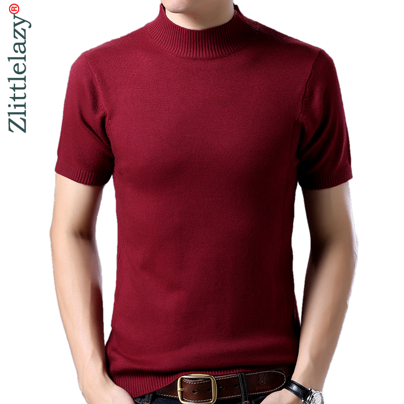 2019 Hot Short Sleeve Turtleneck Pullover Winter Men Sweater Mens Jersey Knitted Sweaters Mens Slim Fit Knitwear Thick Fashions