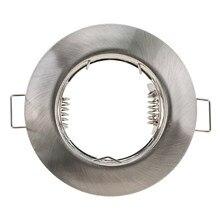 Luminária de teto de níquel redonda, venda quente, luminária embutida, sem moldura ajustável, mr16 gu10, lâmpada, suporte luminoso, corte de 55mm