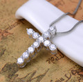 Hot sale brand jewelry sterling silver gold 925 cz diamond cross pendants necklace women fashion men necklace collares collier
