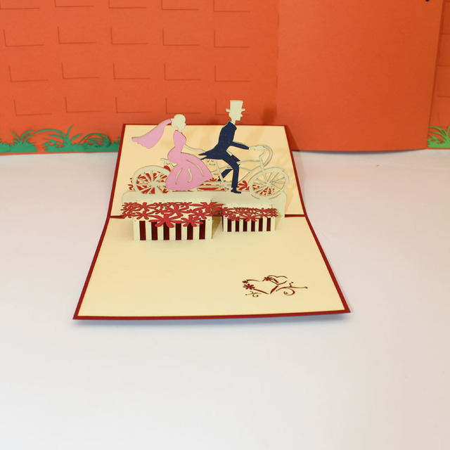 3D Handmade Carving Cycling Bride and Groom Paper Invitation Greeting Cards Wedding Engagement Valentine's Day Creative Gift
