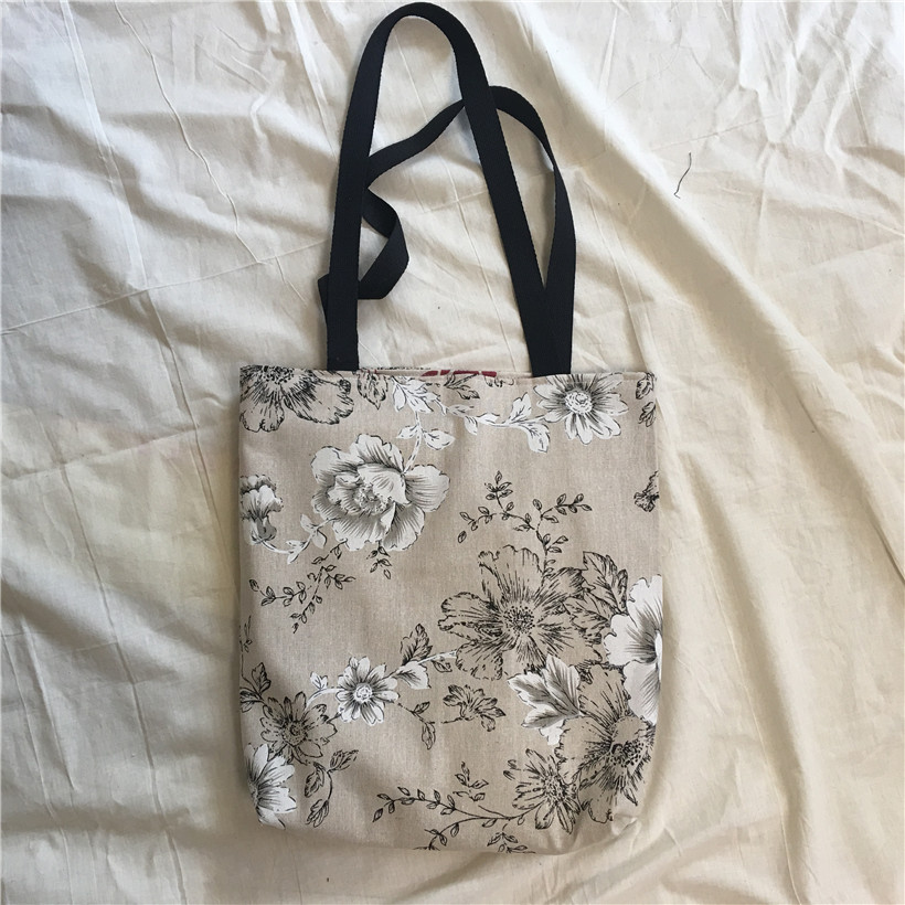 YILE Cotton Linen 2 Sided Eco Shopping Tote Shoulder Bag Peony Rosy Flower 8530b