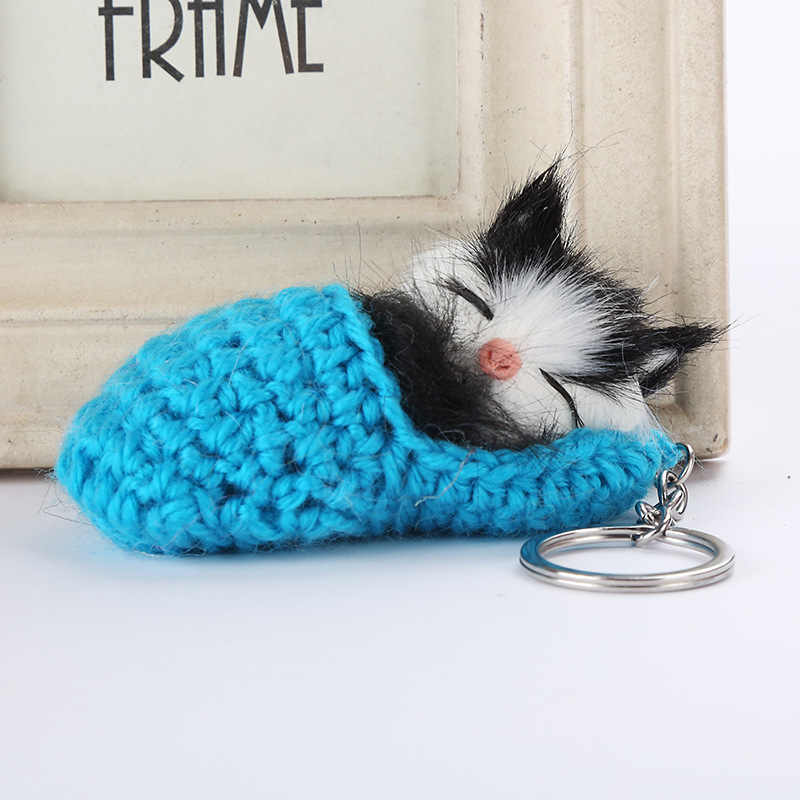 Llaveros con pompón de gato lindo para mujeres y niñas zapatos tejidos a mano de piel de conejo de imitación llaveros de gatito llaveros de coche esponjosos