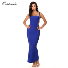 Ocstrade Woman Long Dress Elegant Party Vestido Summer New Arrivals Ladies Blue Hollow Out Sexy Long Maxi Bandage Dress
