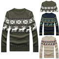 2014 New Autumn & Winter Fashion Christmas Reindeer Knitted Pullover Mens Sweaters Slim fit Casual Outerwear Man Clothing M-XXL