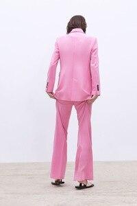 Image 4 - 2019 Yeni Bahar BF tarzı Kruvaze Düğme Kadınlar Pembe Blazer Yüksek Bel Küçük Düz Pantolon Uzun Kollu Takım Elbise 2 Adet seti
