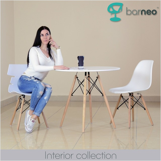 94923 Barneo T-8 MDF Interior Dinner Table Bar Table Kitchen Furniture Dining Table white free shipping in Russia 2