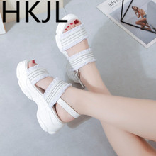 HKCP Sandal female summer 2019 new style fashion joker student thick bottom heighten seaside beach gladiator shoe A461