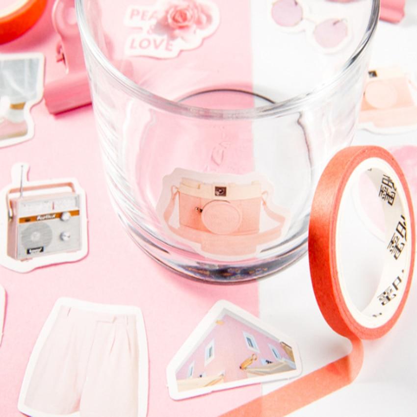 46Pcs box Pink Girl please answer Mini Handmade paper sticker Diary Scrapbooking Decorative DIY Stickers Stationery in Stationery Stickers from Office School Supplies