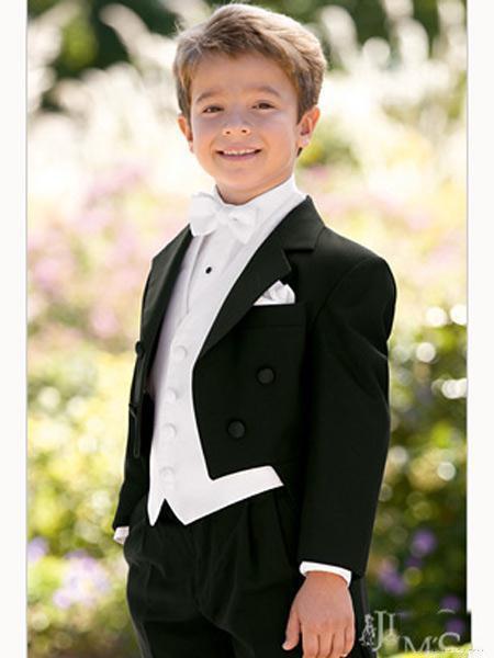 Top sell/Free shipping/Custom Made Kid suits Notch Collar Children black Wedding Suit Boys Attire(Jacket+Pants+Tie+Waistcoat)