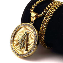 Nueva Llegada Heló hacia fuera 18 K Oro Freemason Masónica Compás G Envío-Mason Masonería Colgante Redondo Collar de Hip Hop para Hombres/Mujeres