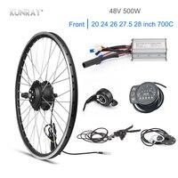 KUNRAY 48V 500W Motor Wheel 20 26 Electric Bike Conversion Kit Bike Engine KT BLDC Controller LED Thumb Throttle Front Wheel