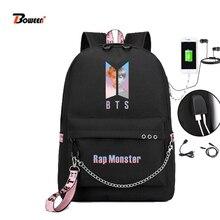 449d30fce1 Coréenne BTS sac à dos homme femme jimin kpop bts bangtan garçons Rap  Monstre USB sacs d'écolier pour Adolescent Fille JUNG KOOK.