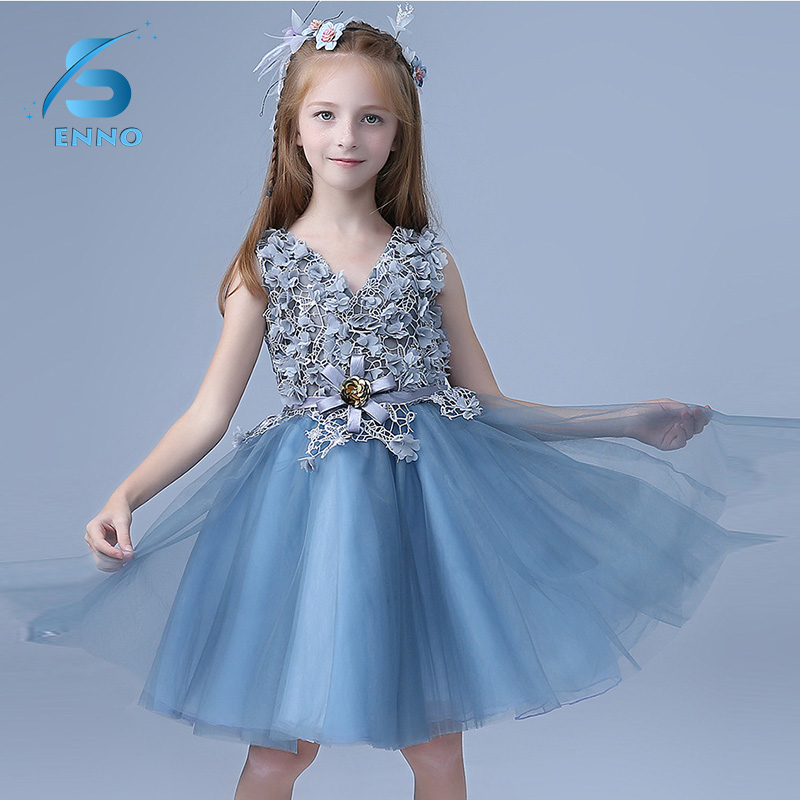 2018 new summer baby girl lace flower girl dress for wedding girls party dress with bow dress for 3-16 Year