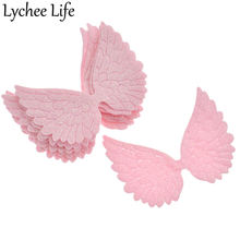 Lychee Life 10pcs Glitter Fabric Angel Wings PU Festive Decoration DIY Party Club Home Gifts Cake Photo Collection New Arrival