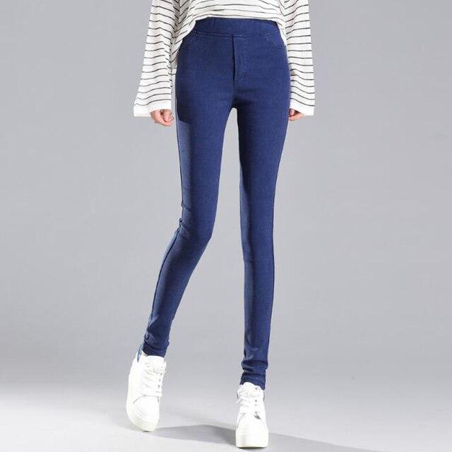 2018 Осенние новые модные женские узкие брюки повседневные упругие талии узкие брюки плюс размер черный синий стрейч брюки леггинсы