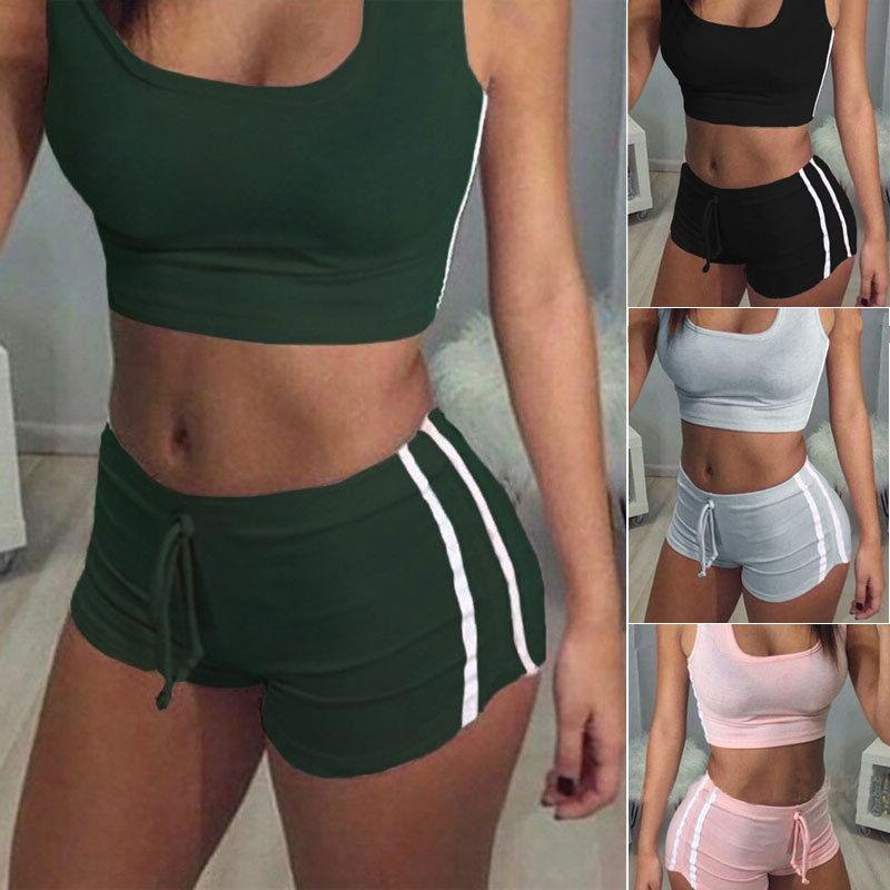 Womens Sleeveless Jumpsuit Crop Top&Short Pants Casual Bodysuit Bodycon Romper 2PCS Clothing Set