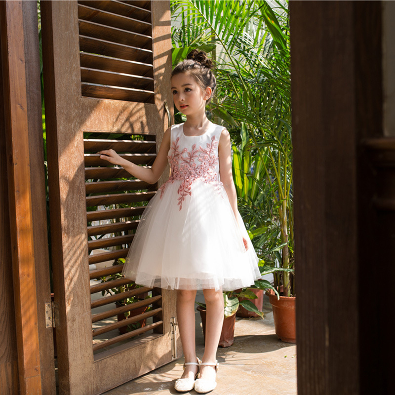 Girl Princess Dress Spring Children's Wedding Flower Dress 2017 New High-quality Lace Girl's White 1 Years Birthday Party Dress