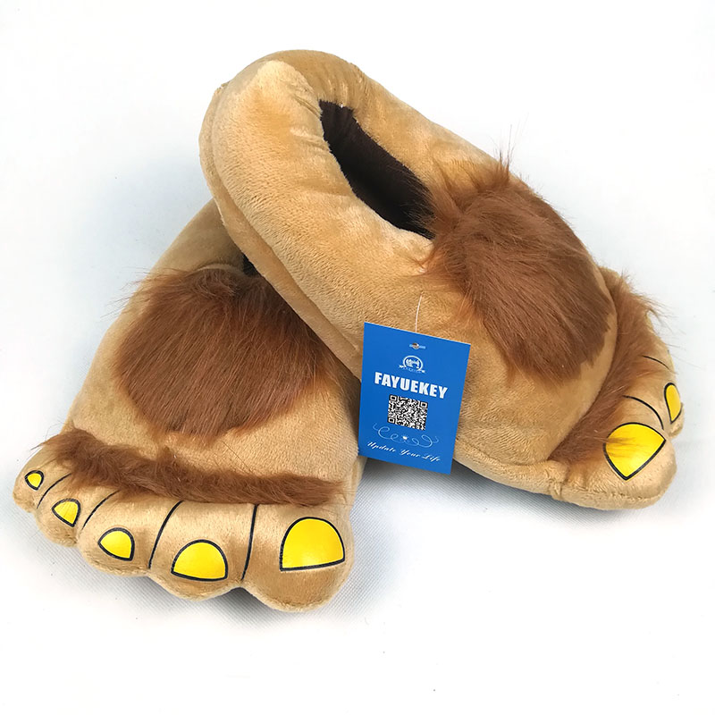 FAYUEKEY Furry Adventure Winter Women Men Vintage Home Cartoon Hobbit Toes Big Feet Slippers Halloween Pantufa Warm Floor Shoes 5