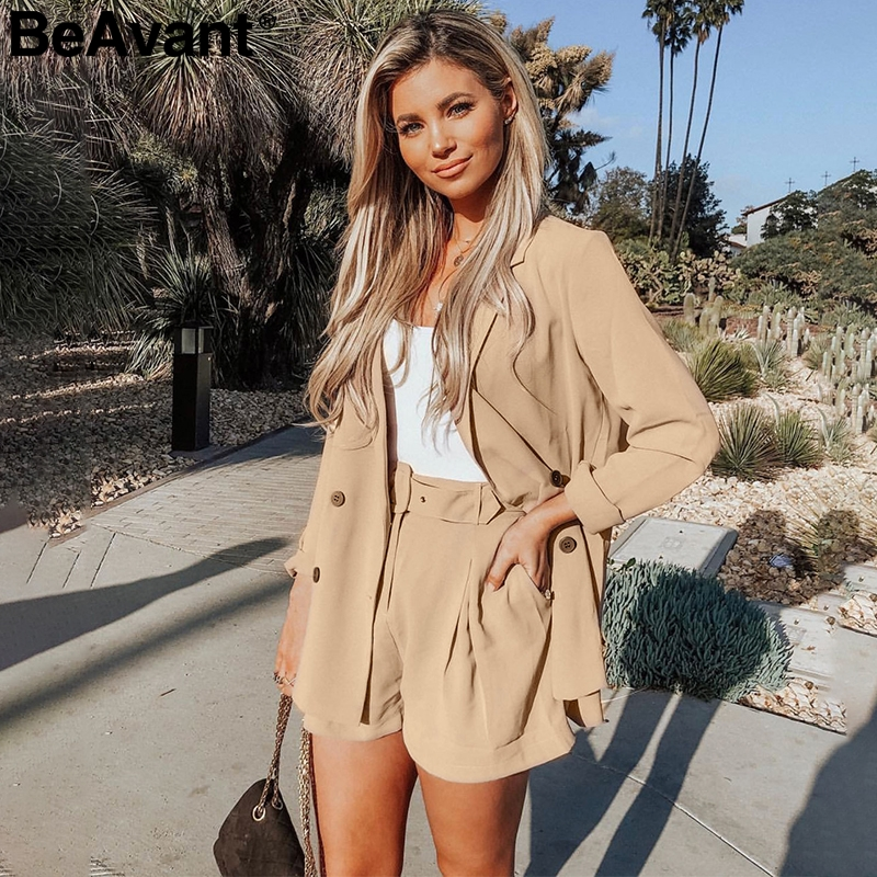 BeAvant Elegant Two-piece Women Short Blazers Suit Casual Streetwear Suits Female Blazer And Shorts Set Chic Office Ladies Suits