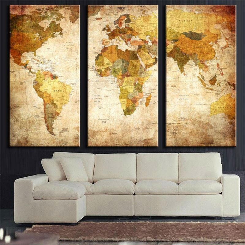 framed 3 panel vintage world map canvas painting print oil painting on canvas home decor wall